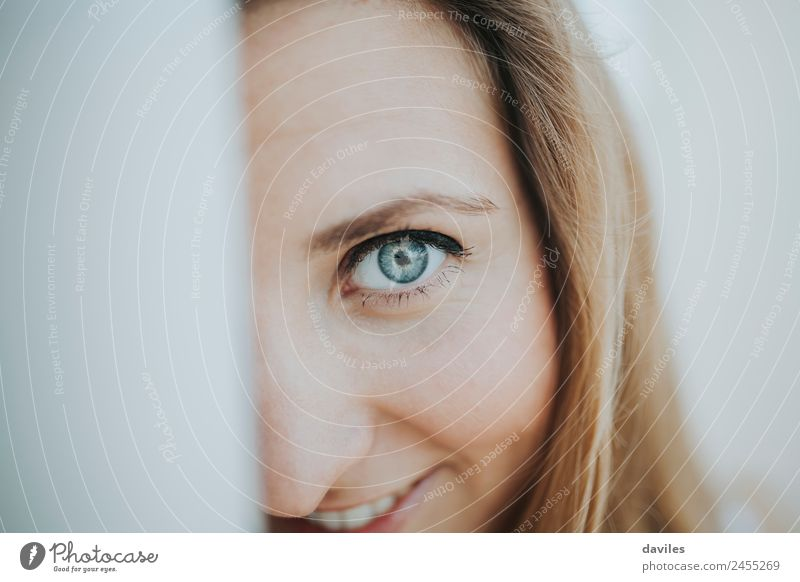 Close up portrait of blue eyed happy girl Woman Human being Youth (Young adults) Young woman Blue Beautiful White Calm Joy 18 - 30 years Face Adults Eyes