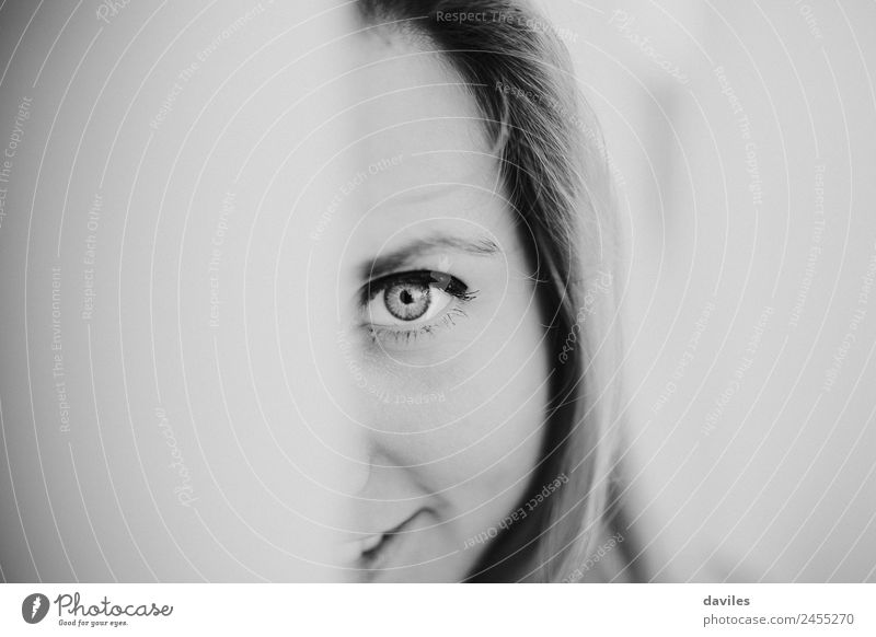 Cool half face portrait of white girl withe clear eyes, smiling and looking at camera. Lifestyle Beautiful Face Human being Young woman Youth (Young adults)
