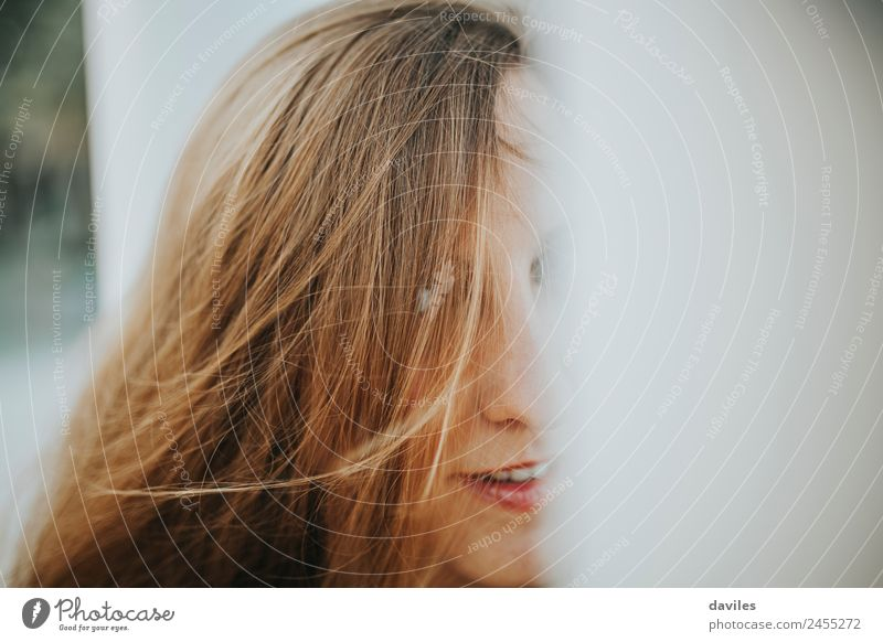 Close up portrait of blonde girl with the hair covering her face. Lifestyle Beautiful Hair and hairstyles Human being Young woman Youth (Young adults) Woman