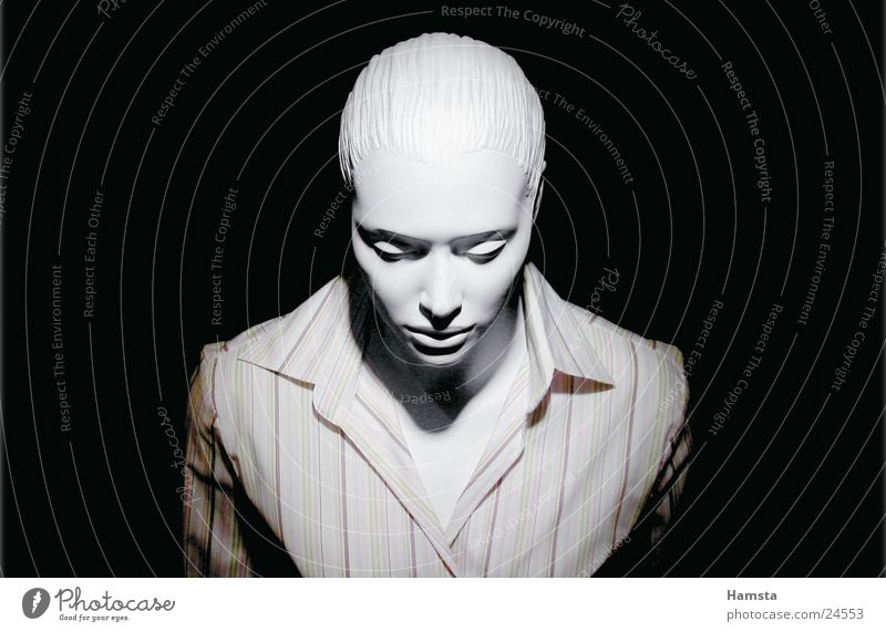 white doll2 Mannequin White Shirt Stripe Loneliness Narrow Small Dark Woman Light from above