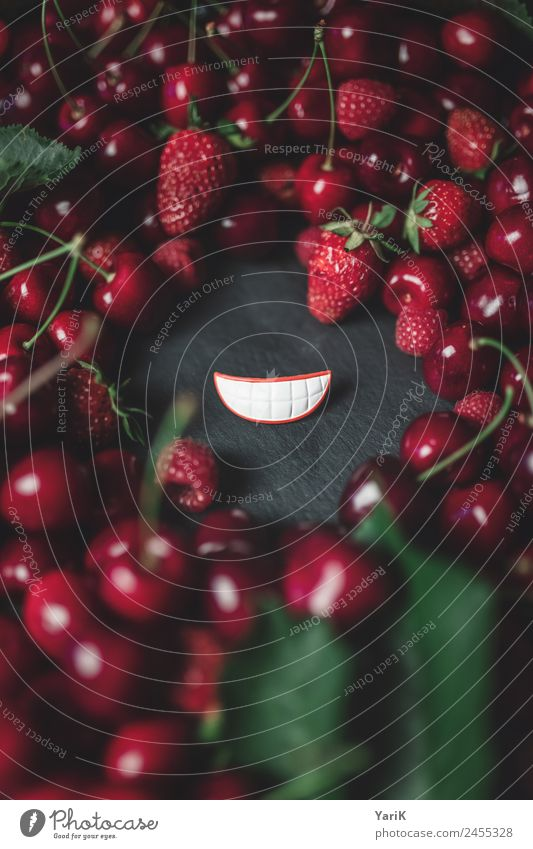 red smile Food Fruit Organic produce Vegetarian diet Diet Red Laughter Smiling Grinning Cherry Berries Raspberry Strawberry Lips Fresh Delicious Healthy