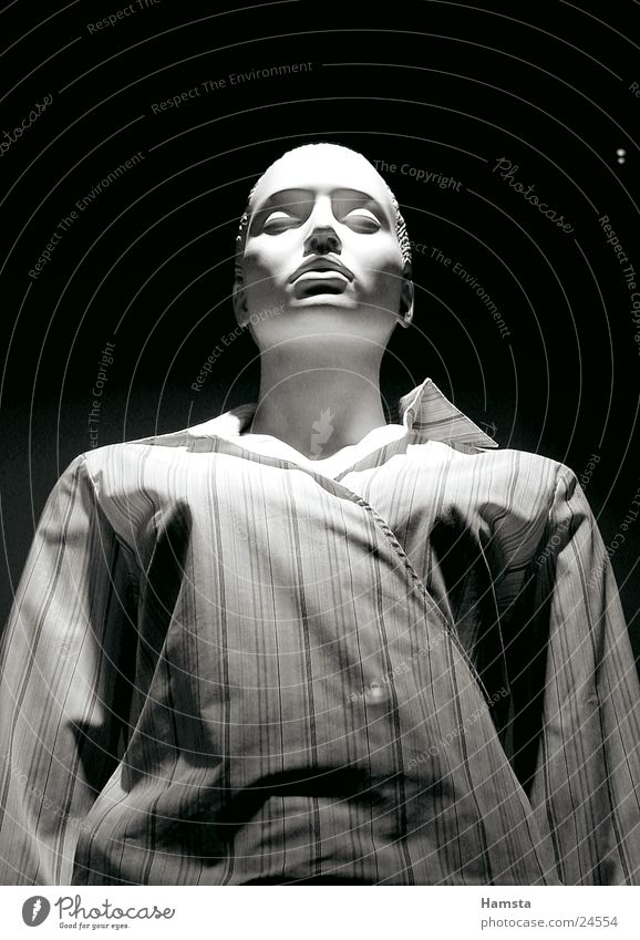white doll 3 Mannequin White Shirt Stripe Loneliness Narrow Large Dark Sleep Calm Woman Light from above