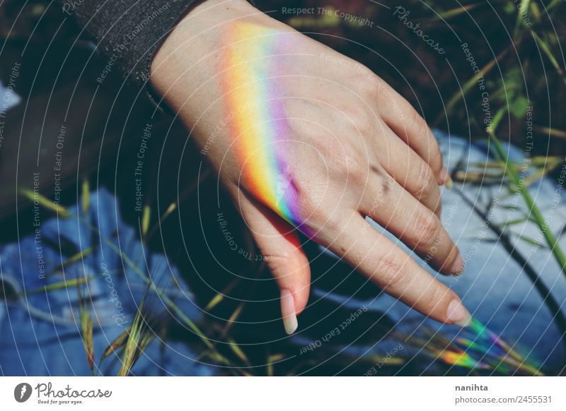 Woman hand with a rainbow projected in it Nature Plant Colour Hand Adults Warmth Natural Feminine Style Art Design Bright Dream Weather Esthetic