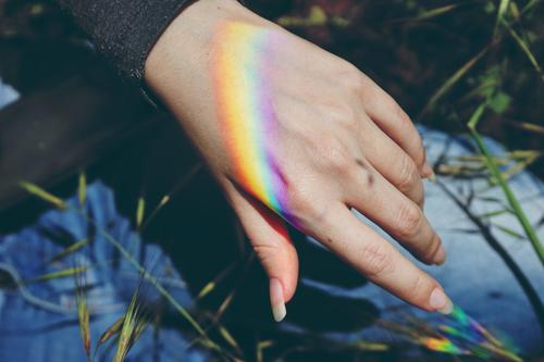 Woman hand with a rainbow projected in it Style Design Feminine Adults Hand Nature Plant Climate Weather Beautiful weather Rainbow Esthetic Authentic Simple