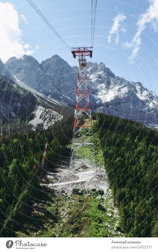 Mast of a cableway in the alps Nature Landscape Adventure Cable car Gondola Rope Alps Fantastic Summer Summery Sun Sunbeam Coniferous forest Mountain