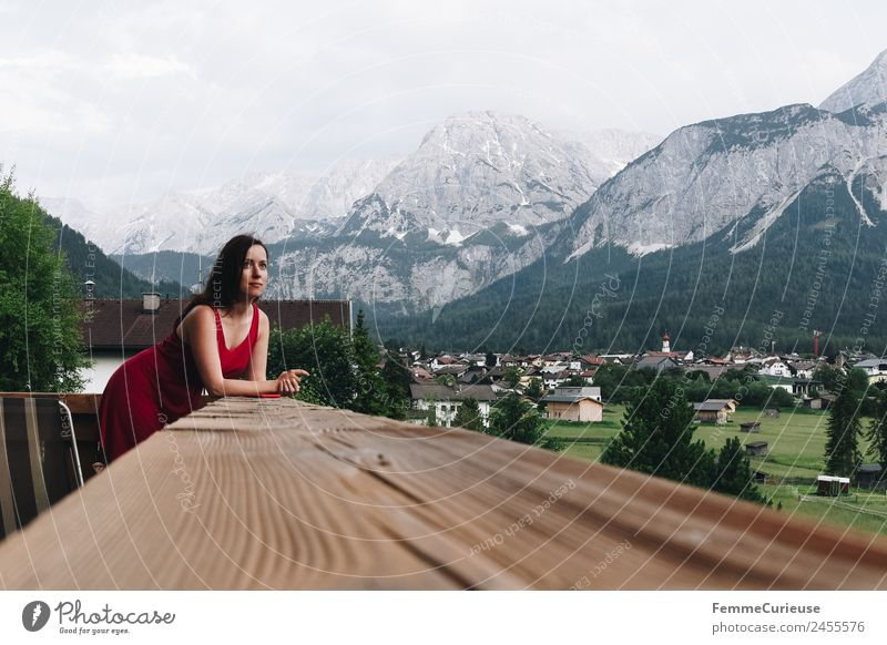 Woman Human being Nature Vacation & Travel Youth (Young adults) Young woman Red Relaxation Mountain 18 - 30 years Adults Meadow Feminine Alps Dress Balcony