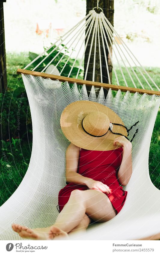 Woman Human being Vacation & Travel Youth (Young adults) Young woman Summer Red Relaxation 18 - 30 years Adults Legs Meadow Feminine Feet Break Sleep