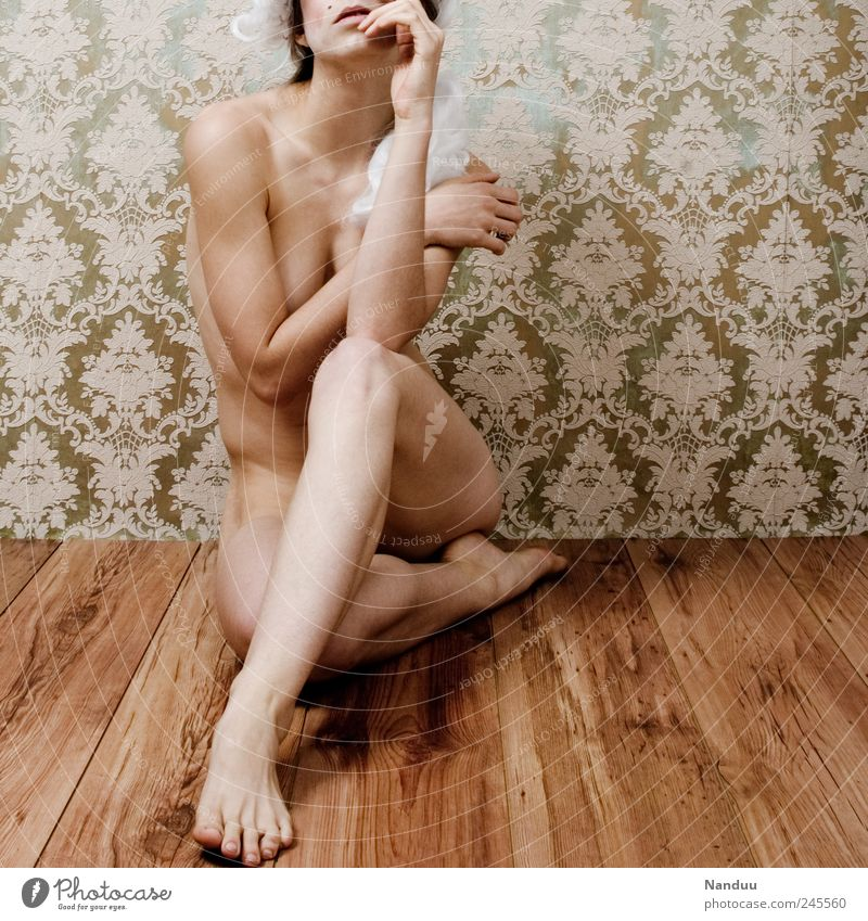 Semi-Baroque² Human being Feminine Woman Adults 30 - 45 years Naked Retro Wallpaper Wallpaper pattern Sit Parquet floor Wig Body Vulnerable Colour photo