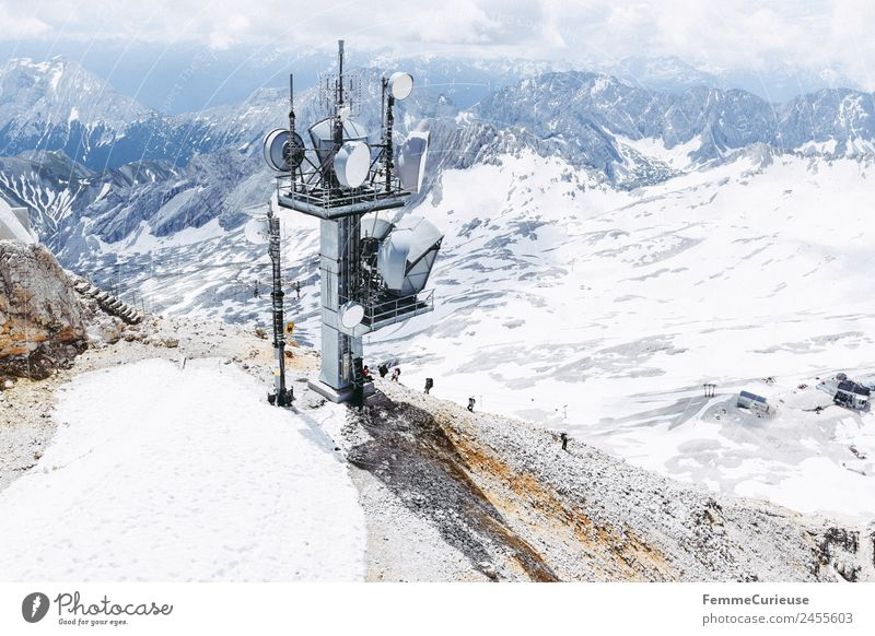 Hikers climbing the Zugspitze - aerial view Nature Adventure Expedition Travel photography Vacation & Travel Adventurer Hiking Destination Snow Alps Mountain