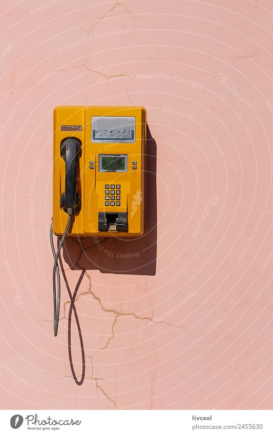 yellow retro telephone on pink wall, china Telecommunications To talk Telephone Old To call someone (telephone) Retro Yellow Pink China Asia zhangye asian