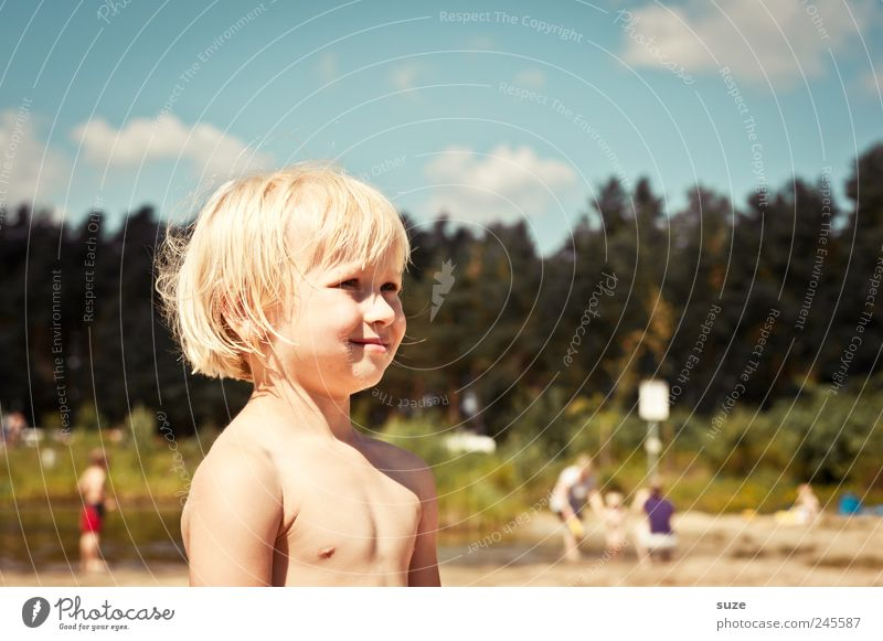 summer child Hair and hairstyles Vacation & Travel Human being Child Boy (child) Infancy Skin Head Face 1 3 - 8 years Sky Clouds Tree Lakeside Blonde Stand