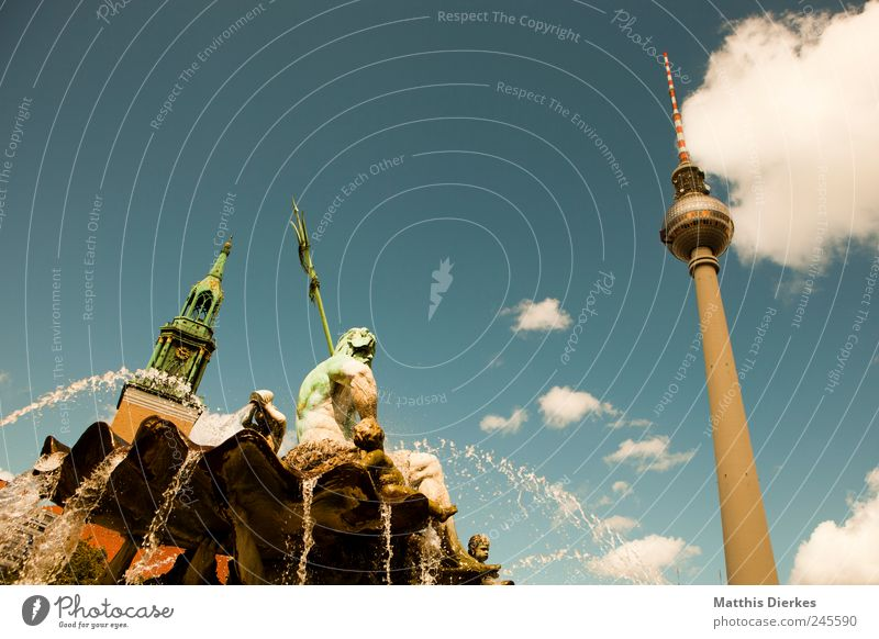 Berlin Lifestyle Tourism Trip Summer Summer vacation Living or residing Berlin TV Tower Neptune fountain Town Capital city Downtown Tourist Attraction Landmark