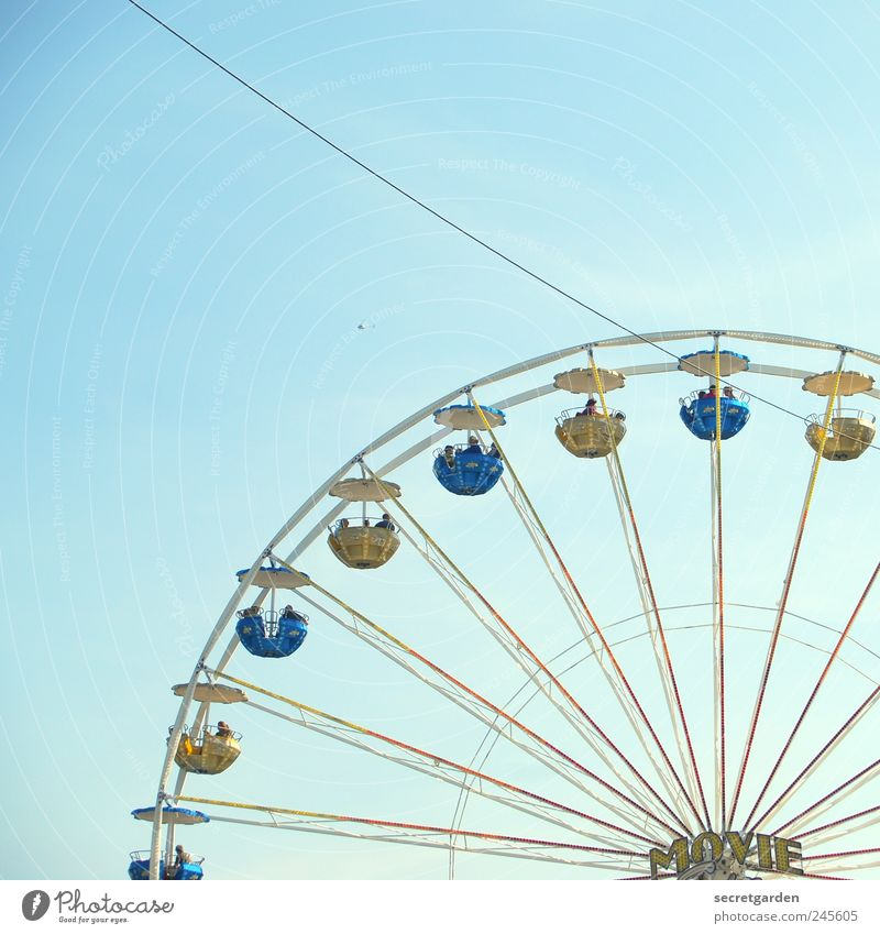 Blue Colour Large Round Rotate Fairs & Carnivals Section of image Partially visible Ferris wheel Structures and shapes Circle Circular Cloudless sky