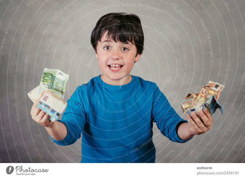 smiling boy with euro bills Lifestyle Shopping Joy Happy Money Child Work and employment Economy Financial Industry Financial institution Business Human being