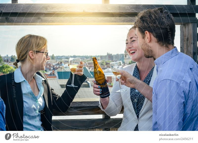Closing time on the terrace Beer Elegant Office Advertising Industry Financial Industry Business Company Career Success Team Human being Masculine Feminine
