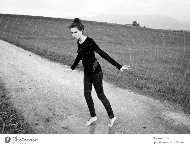 LadyLike Human being Feminine Young woman Youth (Young adults) Woman Adults 1 Disgust Elegant Meadow Lanes & trails Water Puddle Black & white photo
