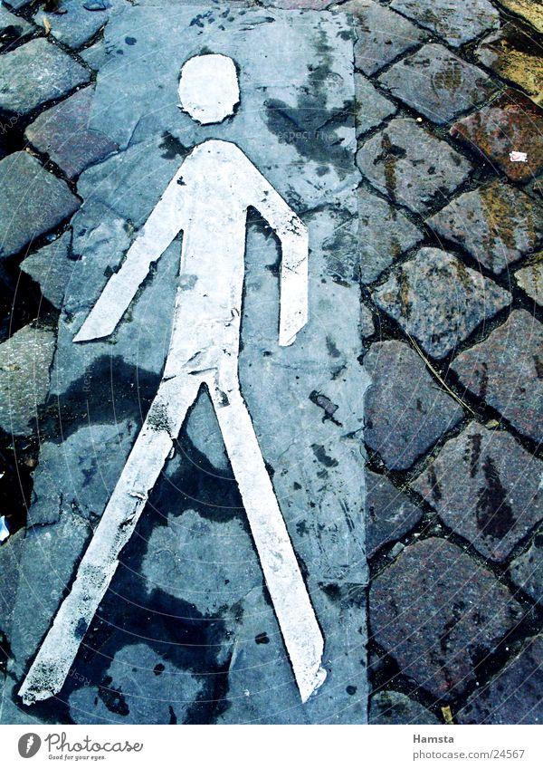 City Street Going Walking Sign Sidewalk Historic Pedestrian Paving stone Pictogram Curbside Traverse