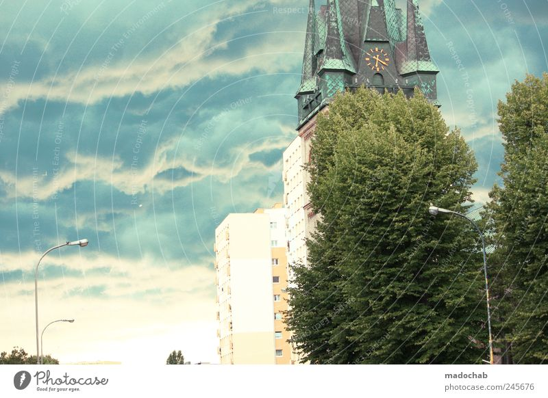 Sky City Tree Clouds House (Residential Structure) Church Lantern Storm Bad weather Storm clouds