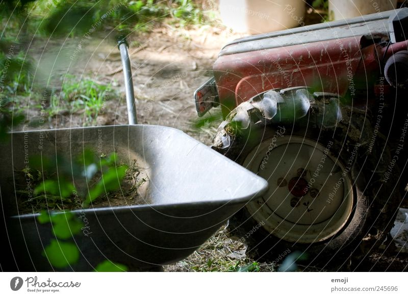 farm Profession Agriculture Forestry Tool Nature Old Tractor Tractor wheel Wheelbarrow Natural Farm Rural Workplace Colour photo Exterior shot Deserted Day