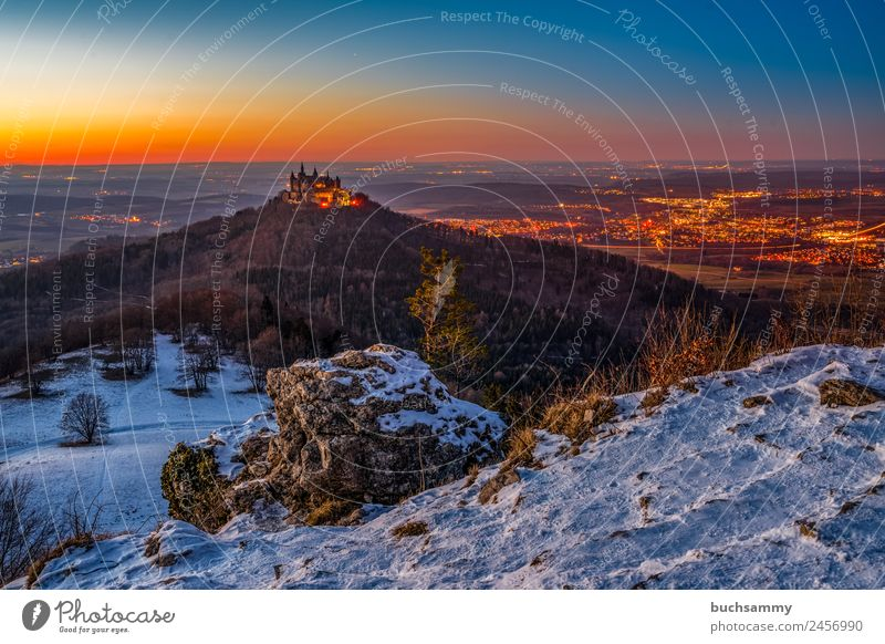 Hohenzollern Castle Vacation & Travel Tourism Trip Cycling tour Winter Snow Winter vacation Mountain Hiking Architecture Landscape Sunrise Sunset Weather Forest