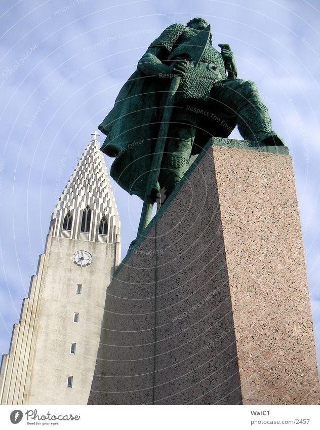 Reykjavik Iceland Reykjavík Monument Statue Vikings Axe Europe Eiriksson Religion and faith state founder