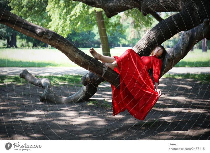 ulreka Feminine Woman Adults 1 Human being Beautiful weather Tree Park Dresden Dress Brunette Long-haired Relaxation Lie Sleep Dream Happy Contentment