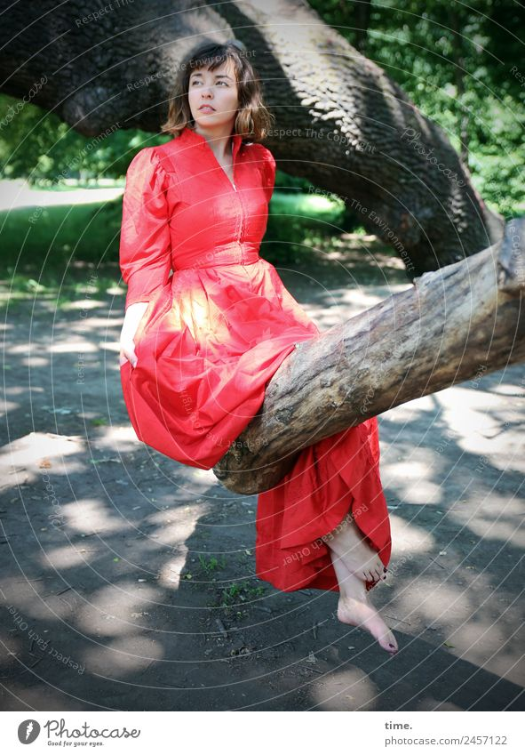 ulreka Feminine Woman Adults 1 Human being Beautiful weather Tree Park Dress Barefoot Brunette Long-haired Observe Looking Sit Self-confident Serene Patient