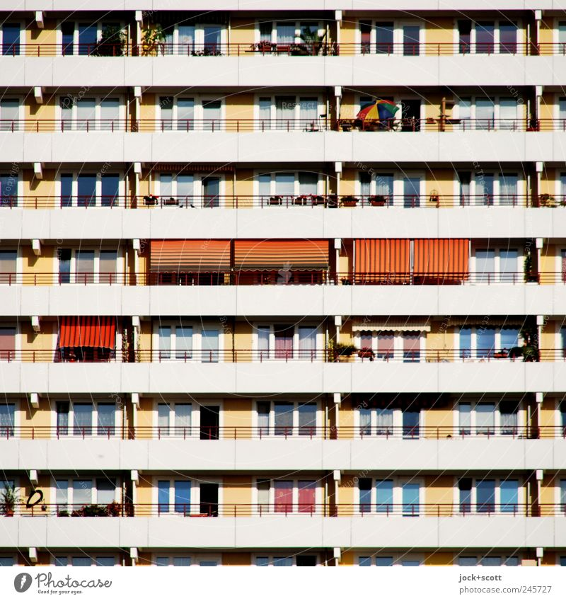sun-trap Living or residing Marzahn Outskirts High-rise Architecture Town house (City: Block of flats) Facade Balcony Window Concrete Stripe Relaxation
