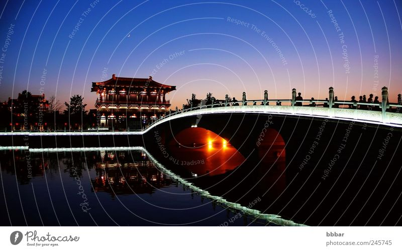 Night scenes of the famous ancient city of Xian, China Blue Vacation & Travel Lamp Building Architecture Trip Tourism Culture Asia Historic Ancient East