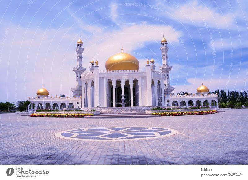 Islamic mosque Tourism Summer Summer vacation Culture Landscape Sky Clouds Castle Places Tower Building Architecture Landmark Monument Historic Blue Gold White