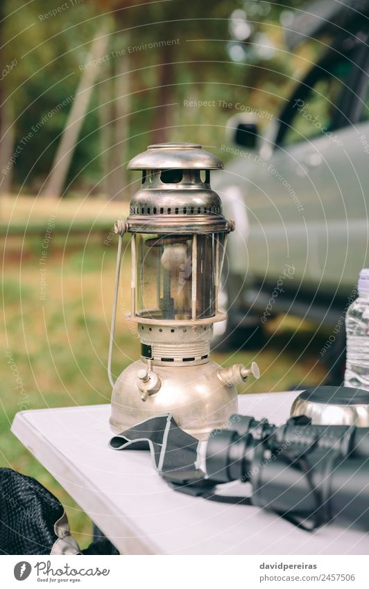 Close up of oil lamp over camping table Nature Vacation & Travel Summer Green Landscape Tree Relaxation Loneliness Joy Forest Mountain Lifestyle Autumn Grass