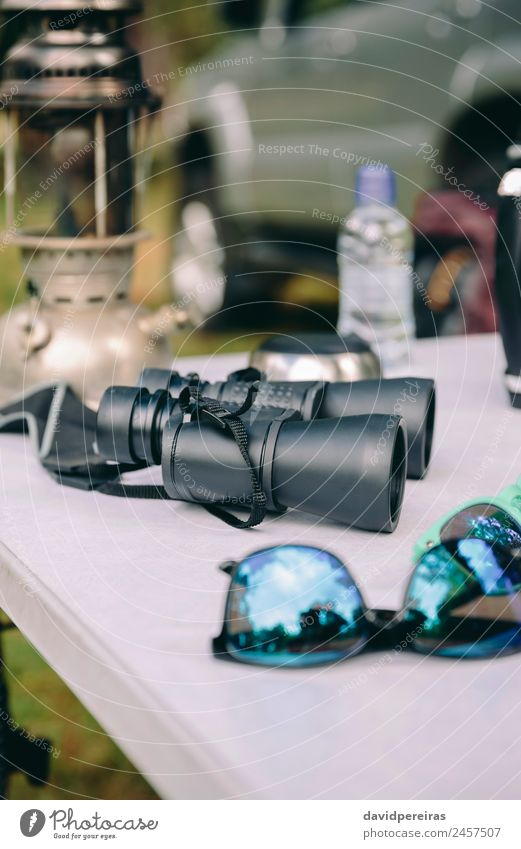 Close up of binoculars over camping table Nature Vacation & Travel Summer Green Landscape Tree Relaxation Loneliness Joy Forest Mountain Lifestyle Autumn Grass