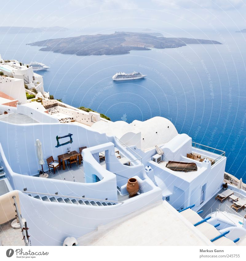 SANTORINI Relaxation Vacation & Travel Tourism Summer Summer vacation Ocean Island Landscape Water Sky Clouds Small Town Blue White Contentment Caldera Europe