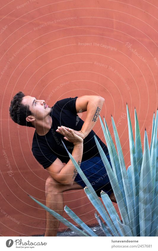 Mexican yoga teacher practicing yoga Lifestyle Healthy Athletic Fitness Wellness Well-being Meditation Sports Sports Training Yoga Human being Masculine 1