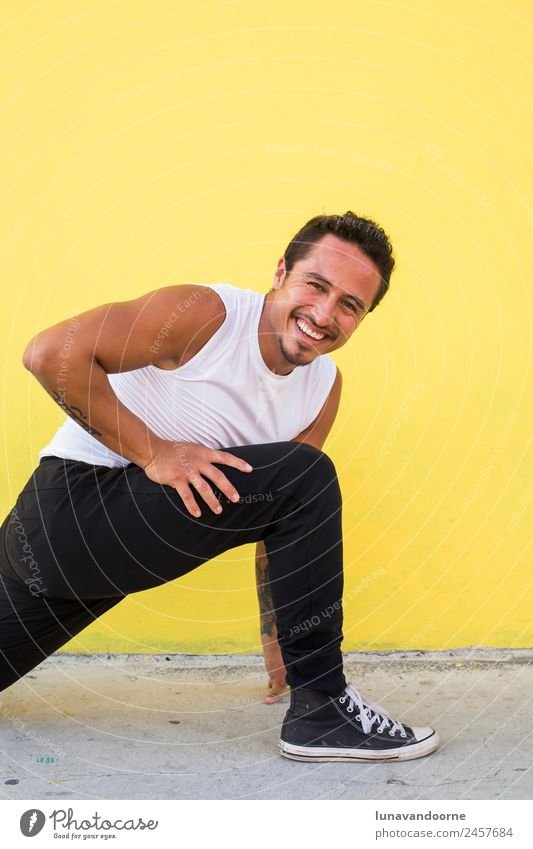 Mexican yoga teacher practicing yoga and laughing Lifestyle Leisure and hobbies Sports Fitness Sports Training Yoga Human being Man Adults 1 18 - 30 years