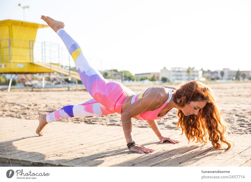 Woman practicing yoga on the beach in Barcelona Lifestyle Wellness Well-being Relaxation Meditation Vacation & Travel Tourism Summer Summer vacation Beach