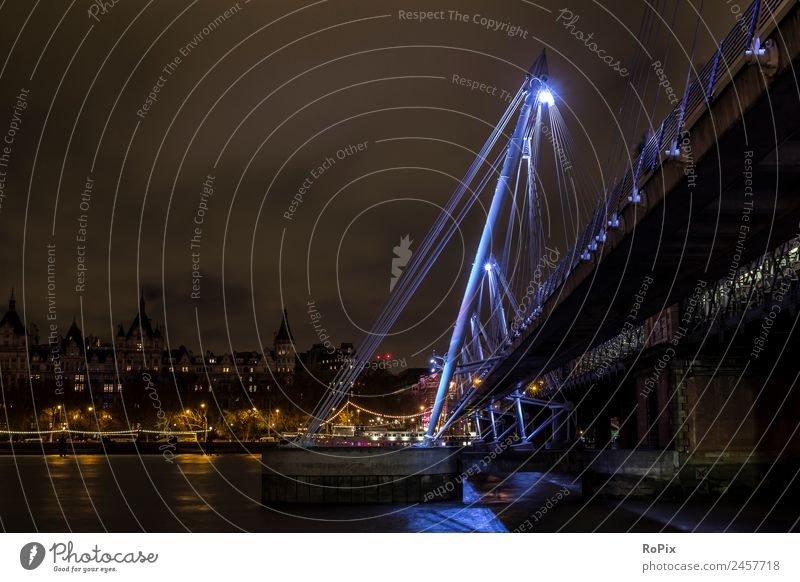 Golden Jubilee Bridge Tourism Sightseeing City trip Sculpture Architecture Environment Landscape Water Sky Night sky River Themse London England Great Britain