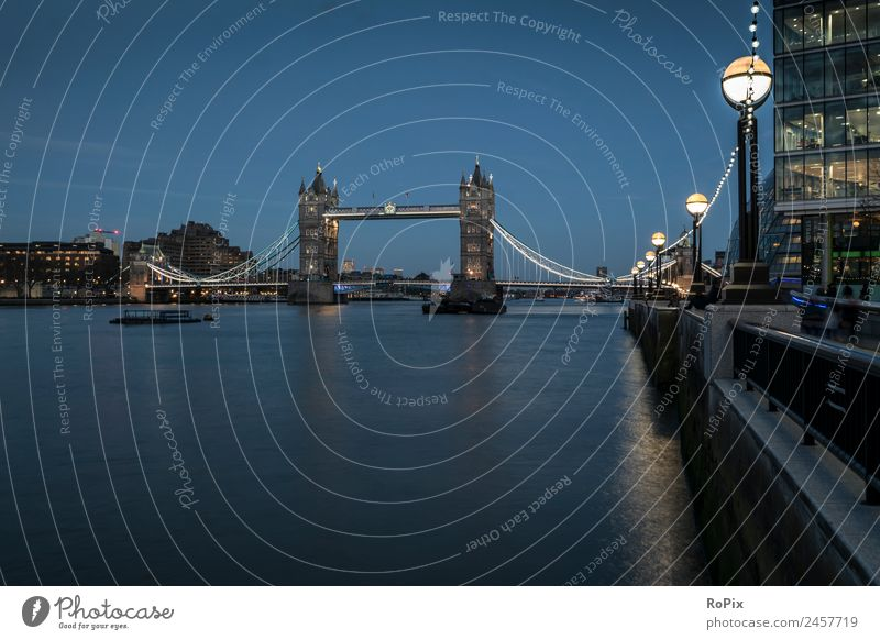 Tower Bridge at Blue Hour. Tourism Sightseeing City trip Trade Architecture Environment Landscape Elements Water Night sky River bank London England