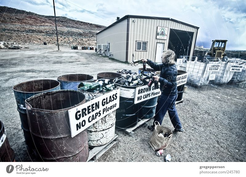 Woman recycles glass bottles. Human being Environment Life Metal Glass Lifestyle Plastic Trash Throw Environmental protection Sustainability Responsibility