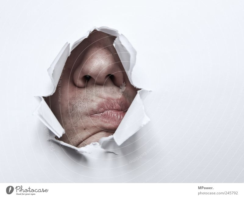 Human being White Head Mouth Adults Fear Skin Nose Paper Masculine Broken Lips Wrinkle Kissing Creepy Wrinkles