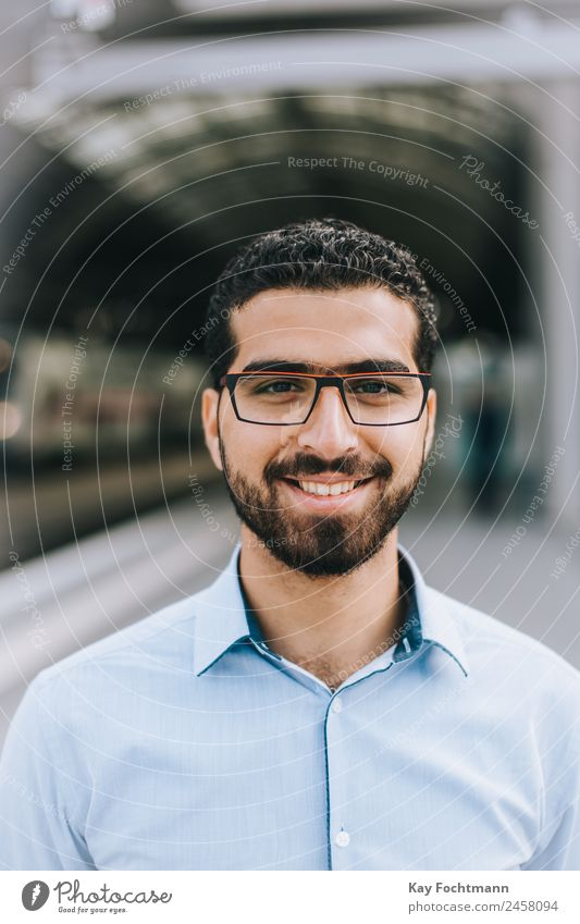 Smiling Syrian man with glasses Style Happy University & College student Business Young man Youth (Young adults) Adults Life 1 Human being 18 - 30 years Fashion