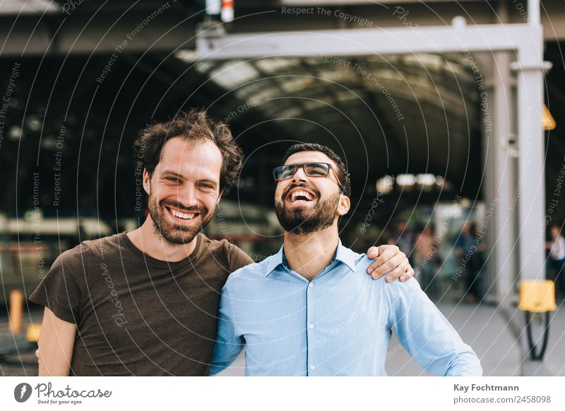 Friendship between German and Syrian Style Joy Business Human being Fashion Emotions Arab Arabian Arabic beard Businessman eyebrows face friendly friends