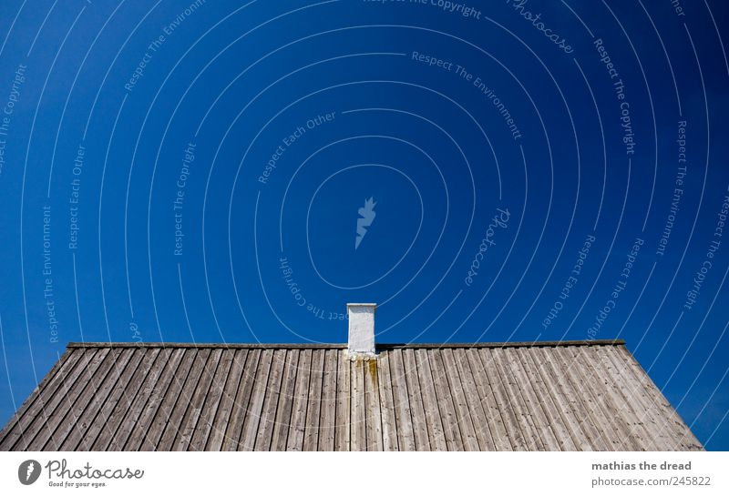DENMARK - IX Cloudless sky Summer Beautiful weather Deserted House (Residential Structure) Roof Chimney Sharp-edged Wood Gray Line Parallel Calm Minimalistic