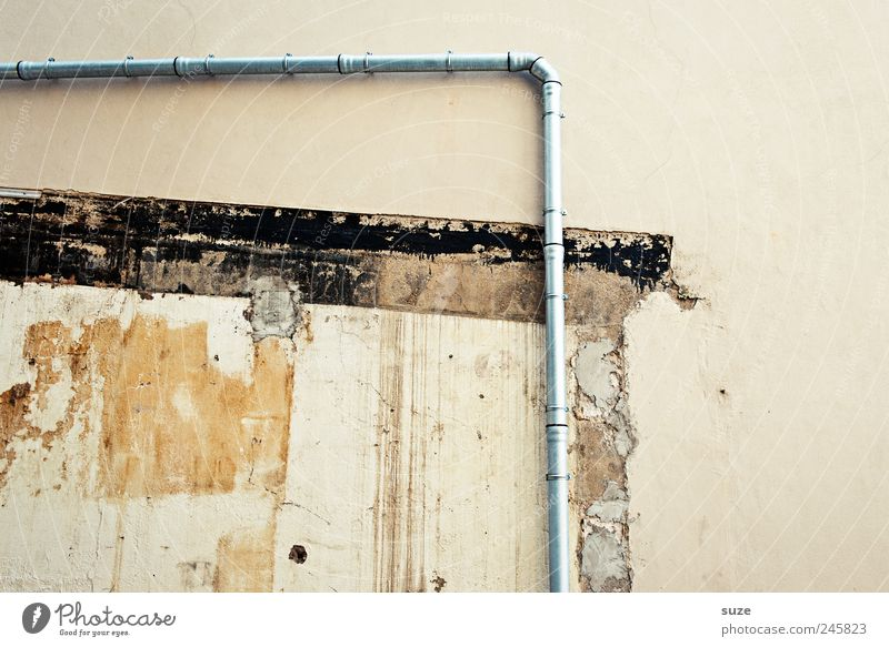 Old Wall (building) Wall (barrier) Building Dirty Authentic Broken Transience Corner Manmade structures Past Decline Iron-pipe Sharp-edged Plaster Beige
