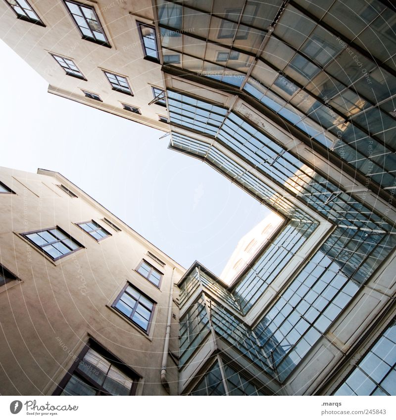 glass house Living or residing House (Residential Structure) Cloudless sky Manmade structures Building Architecture Facade Window Glass Sharp-edged Tall