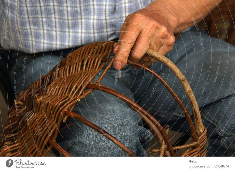 timeless | craft II Hand Fingers Shirt Jeans Wicker basket Wicker mesh Wood Work and employment To hold on Authentic Exceptional Uniqueness Natural Blue Brown