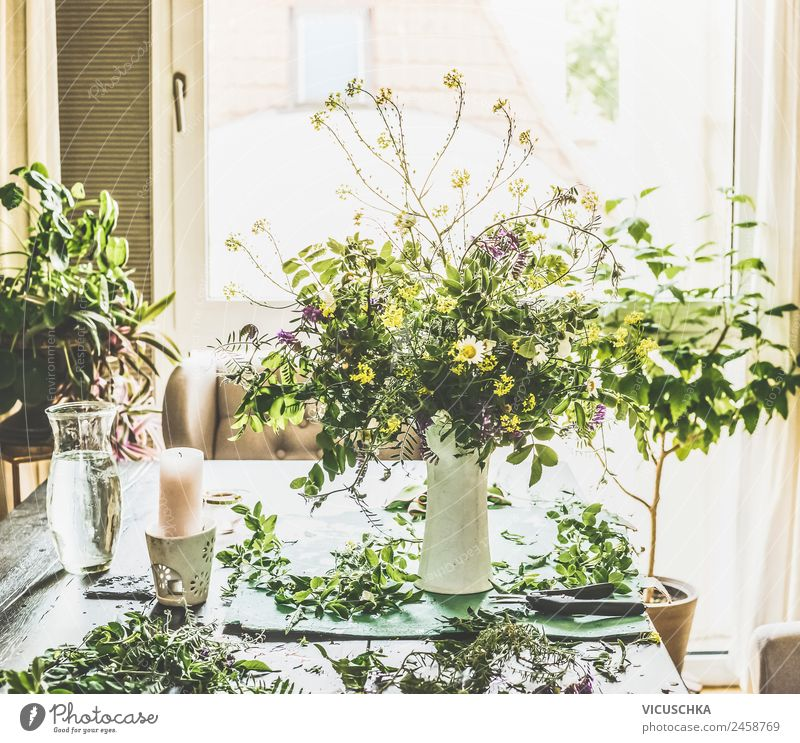 Summer bouquet with wild flowers in the living room Lifestyle Style Design Leisure and hobbies Living or residing Flat (apartment) Dream house Garden Nature