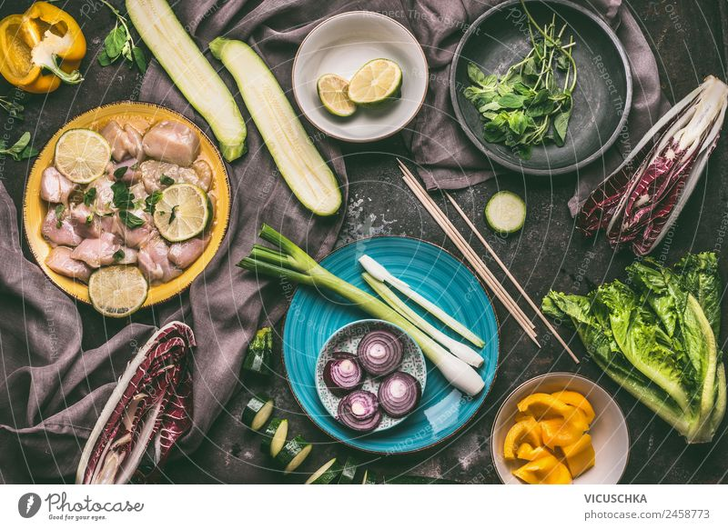 Meat and vegetables for grill Food Vegetable Herbs and spices Nutrition Picnic Organic produce Diet Crockery Plate Bowl Style Design Healthy Eating Table