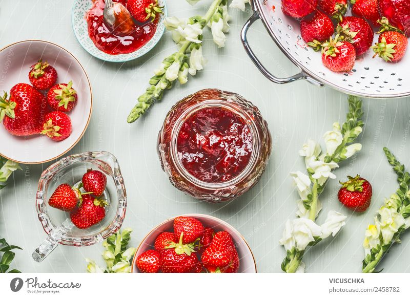 Strawberry jam in glass with berries and flowers Food Fruit Jam Nutrition Breakfast Organic produce Vegetarian diet Diet Crockery Style Design Healthy