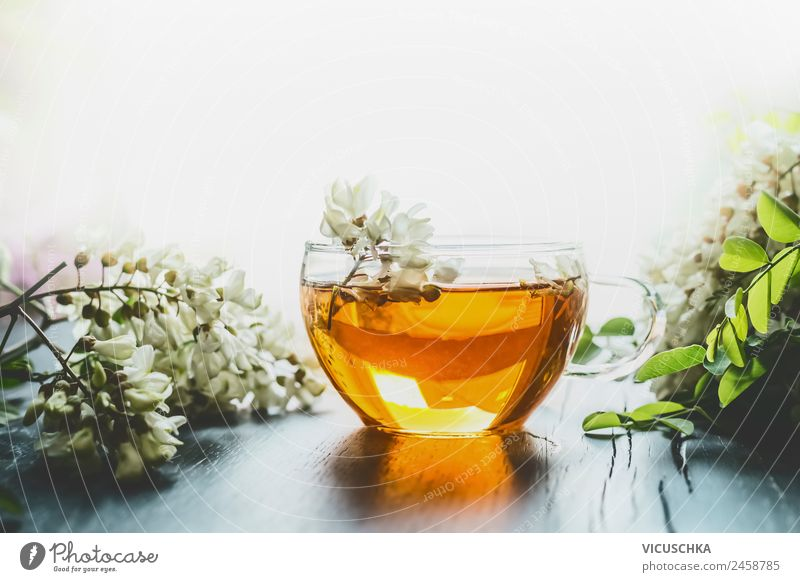 Acacia herbal tea in glass cup Food Beverage Drinking Hot drink Tea Style Design Healthy Alternative medicine Healthy Eating Nature Plant Yellow Health care